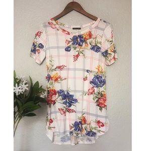 Floral Plaid Short Sleeve Top